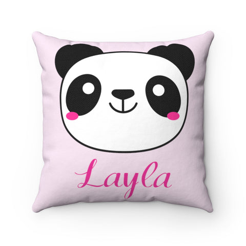 Light Pink Panda Polyester Square Pillow