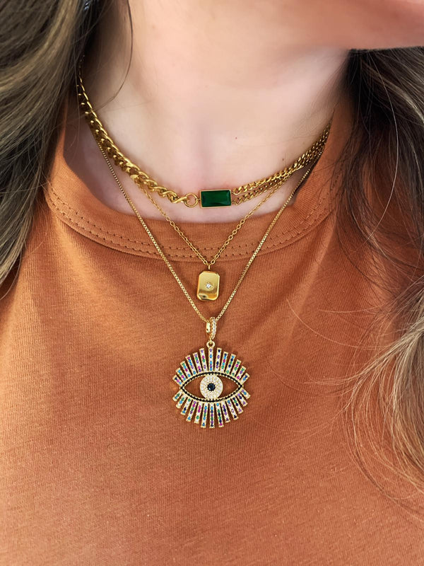 Emerald Evil Eye Necklaces
