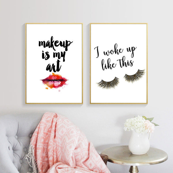 Makeup & Red Lips Wall Art