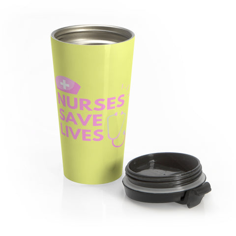 Yellow Nurses Saves Lives Stainless Steel Mug