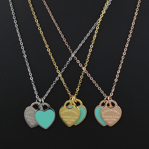 Fanny Love Double Heart Stainless Steel Necklace