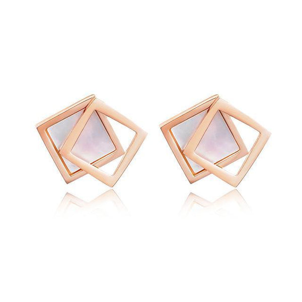 Hanna Double Square Stud Stainless Steel Earrings