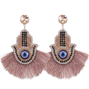 Hamsa Tassel Earrings