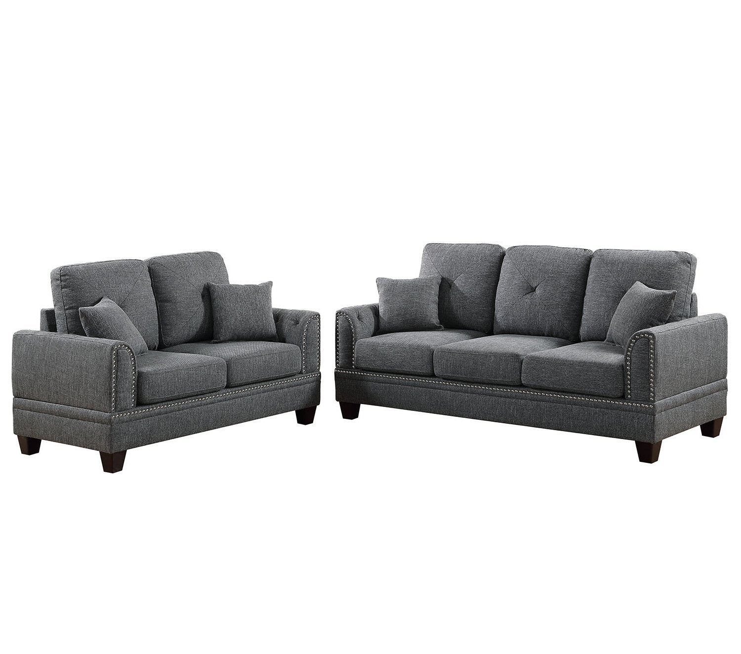Bobkona Bailey Sofa and Loveseat, Ash Black + FREE SHIPPING in Tampa Bay & Orlando