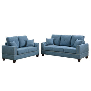Bobkona Bailey Sofa and Loveseat, Blue + FREE DELIVERY