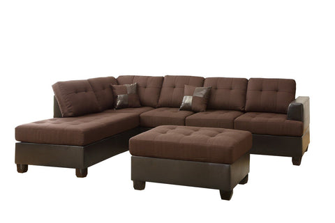 Reversible Sectional with Ottoman - Brown