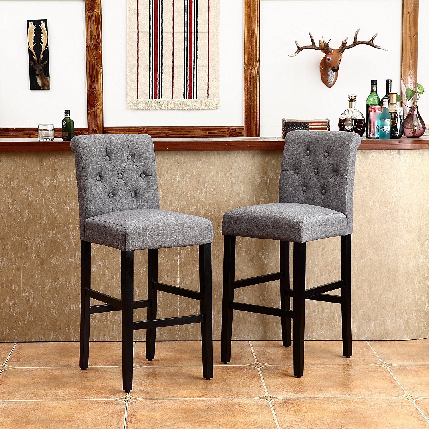 Transitional Design - (Set of 2) Barstools