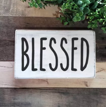 """Blessed"" Small Wood Sign"