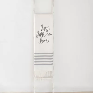 """Let's Fall in Love""  Gray Striped Blanket"