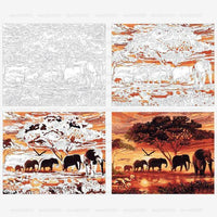 DIY Painting By Numbers: Elephant Family At Sunset