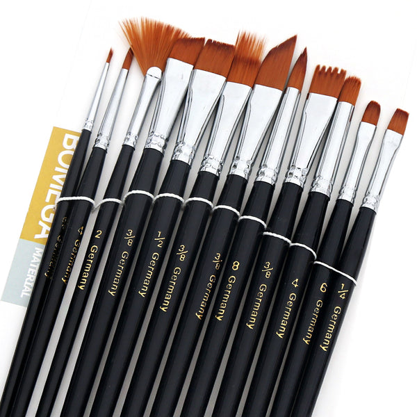 Nylon Paint Brushes - Set of 12