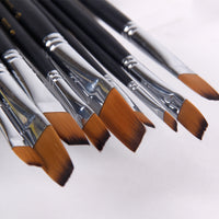 Flat Nylon Paint Brushes - Set of 9