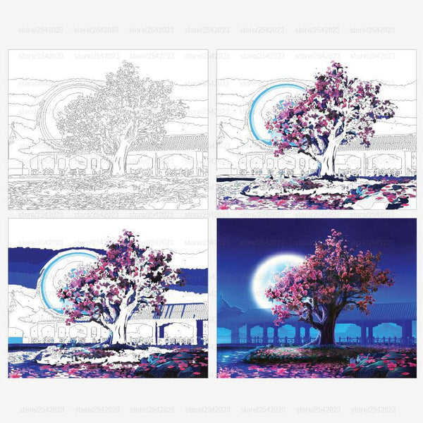 DIY Painting By Numbers: Moonlit Blossom