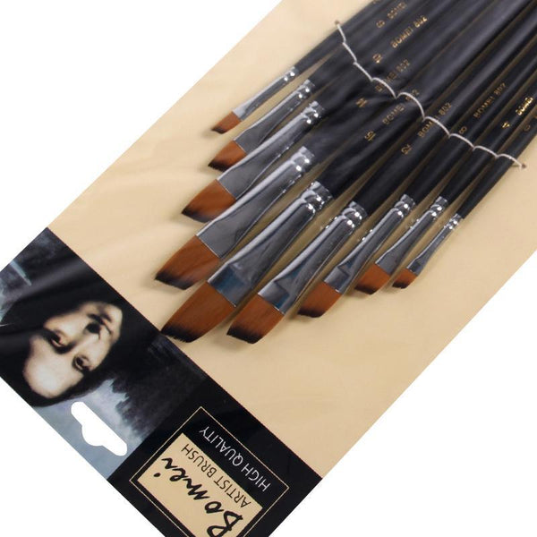 Oblique Nylon Paint Brushes - Set of 9
