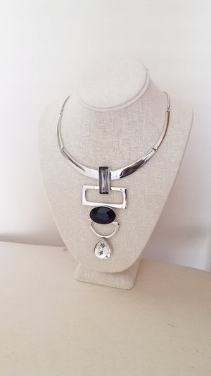 Women's Silver Statement Necklace Set