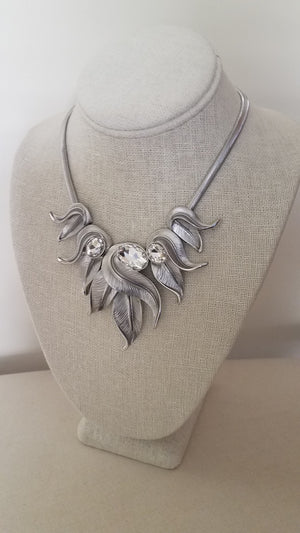 Silver Collar Leaf Statement Necklace Set