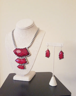 Women's Silver Red Pendant Statement Necklace Set