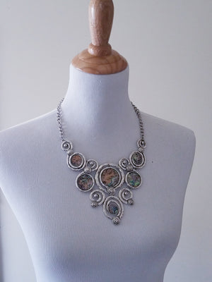 Antique Silver Statement Necklace Set