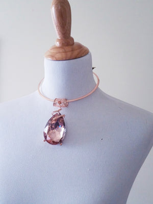 Rose Gold Collar Pink Crystal Pendant Necklace Set