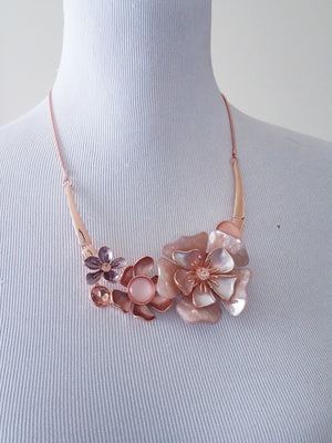 Women's Flower Statement Necklace Set