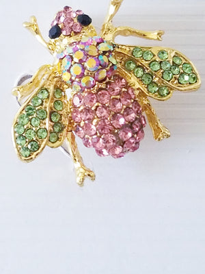 Green Pink Rhinestone Bee