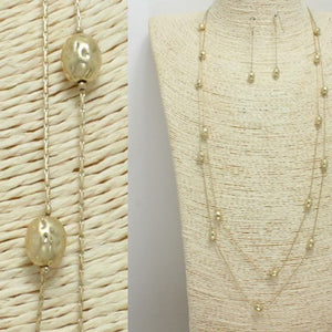 Worn Gold Layered Necklace Set