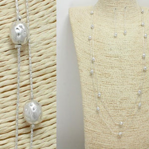 Worn Silver Layered Necklace Set