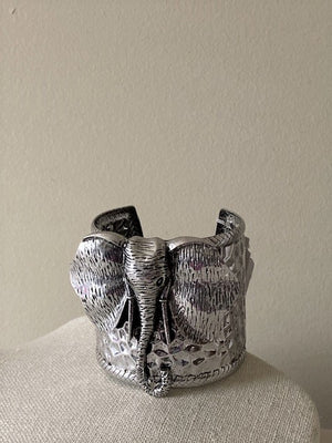 Women's Antique Silver Elephant Cuff Bracelet