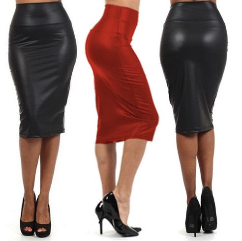 free shipping 2016 Europe and the United States leather purse knee length skirt Black red