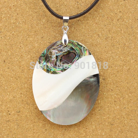 1Pc Oval Striped Multicolor Shell Pendant Necklace Jewelry Making DIY Findings Pendants Charms Accessories F1130