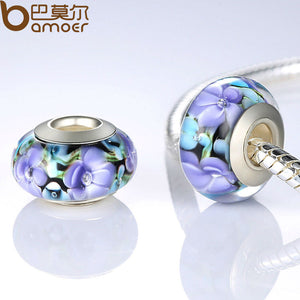 Authentic Silver Color Purple European Glass Flower Beads Fit Bracelet & Necklace Jewelry Making PA6326