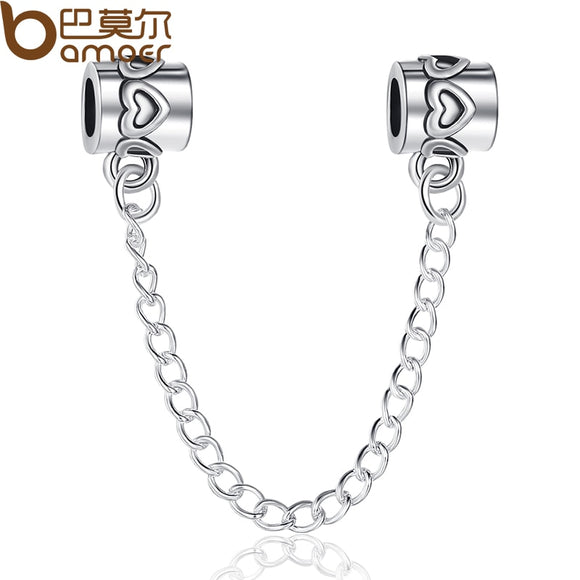 Original European Charm Fit Bracelet Safety Chain Authentic Stopper Charm Jewelry Making Silver Color Accessories PA5278