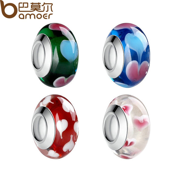 Top Quality Wholesale Silver Color 4 Color Murano Charms Glass Beads Women DIY Bracelets Fashion Jewelry PA6351