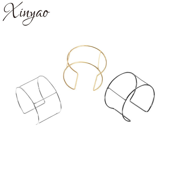 XINYAO 6pcs/lot Dia 6.5cm Blank Cuff Bracelet Bangle Base Gold/Silver Color Bangles Settings for DIY Jewelry Findings F876