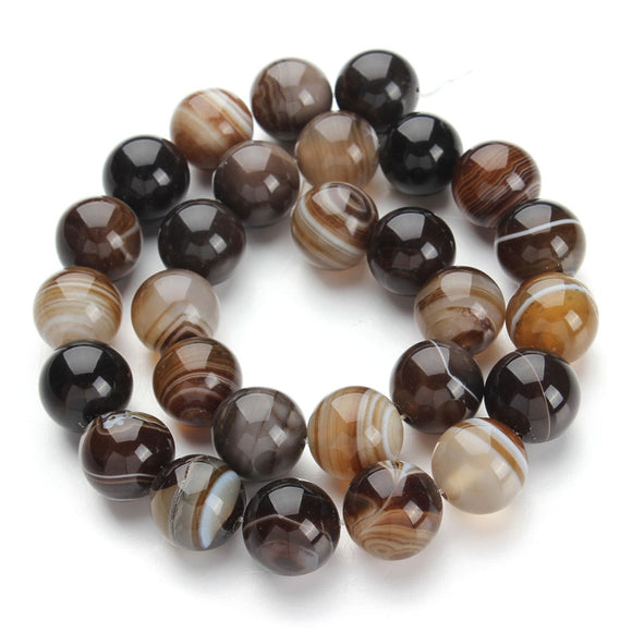 XINYAO Natural Stone Onyx Beads Round Striped Loose Beads 40cm/strand 4/6/8/10/12/14/16mm For DIY Jewelry Making Findings F1488