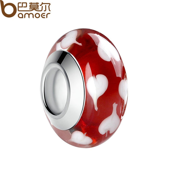BAMOER 1 pcs Silver Color Red Murano Beads European Colorful Glass Beads Fit Bead Bracelet Jewelry Makings PA6349