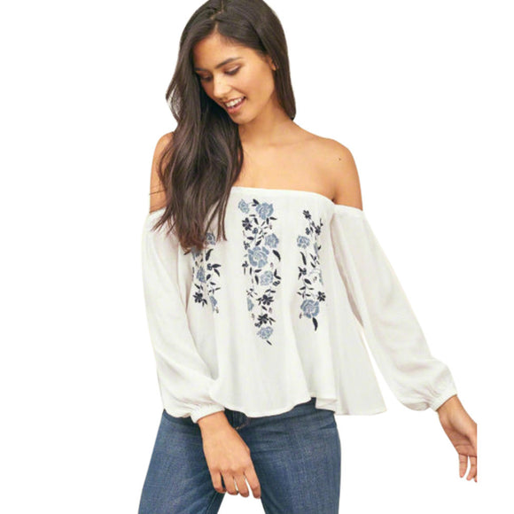 Fashion Women Off Shoulder Floral Print Long Sleeve Blouse Casual Tops Chiffon White Shirt blusas 2017 Summer Autumn