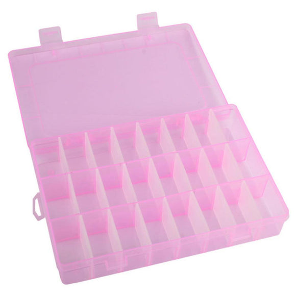 Adjustable 24 Compartment Plastic Storage Box Jewelry Earring Case 24 cell transparent jewelry box Simple convenient box #GH30