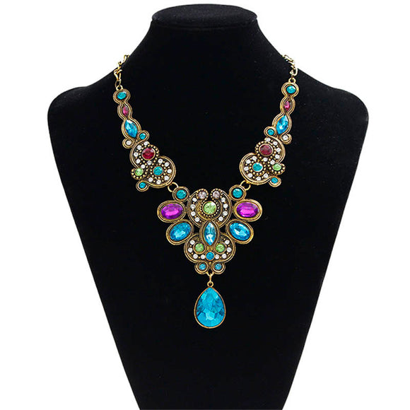 Pendant Chain Women Statement Crystal Bib Beaded Collar Necklace Choker