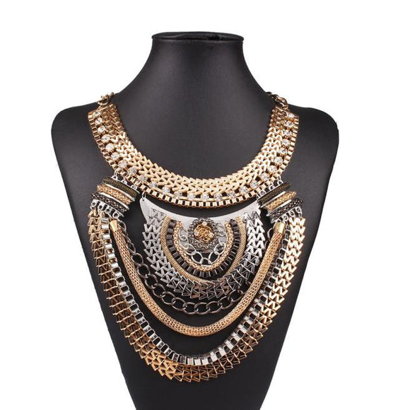 Pendant Chain Women Flowers Studded Drill Collar Necklace Choker