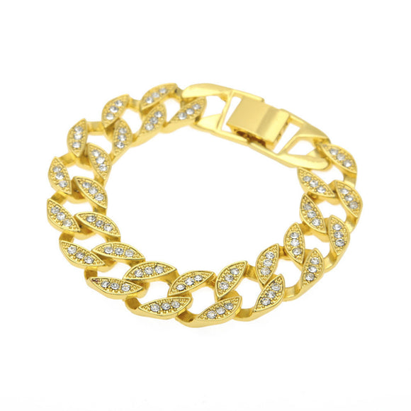 Hip Hop Men Women Jewelry Bling Rhinestone Crystal Bracelet Chain Bangle