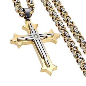 Mens Byzantine Stainless Steel Crucifix Cross Pendant Necklace Chain 22 Inch