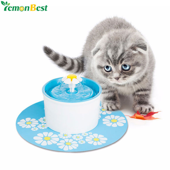 Automatic Pet Feeder Blue Flower Cat Dog Electric Fountain For Cats Pet Bowl Drinking Water Dispenser Drink Dish Filter EU Plug