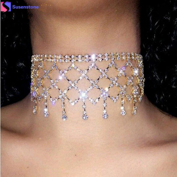 Susenstone Women Punk Style Alloy Crystal Rhinestone Golden Chain Necklace Choker