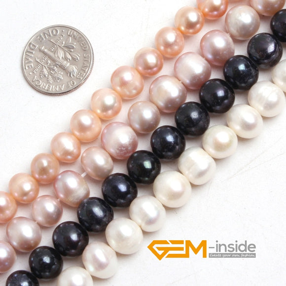 Pearl: 8-9mm Freshwater Pearl Beads(7-8mm Pink) DIY Loose Beads For Bracelet Or Necklace Making Beads Strand 15