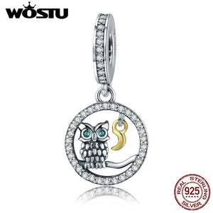 WOSTU New Fashion 925 Sterling Silver Wise Owl Beads Dangle Fit Original WST Charm Bracelet Pendant Jewelry Gift CQC254
