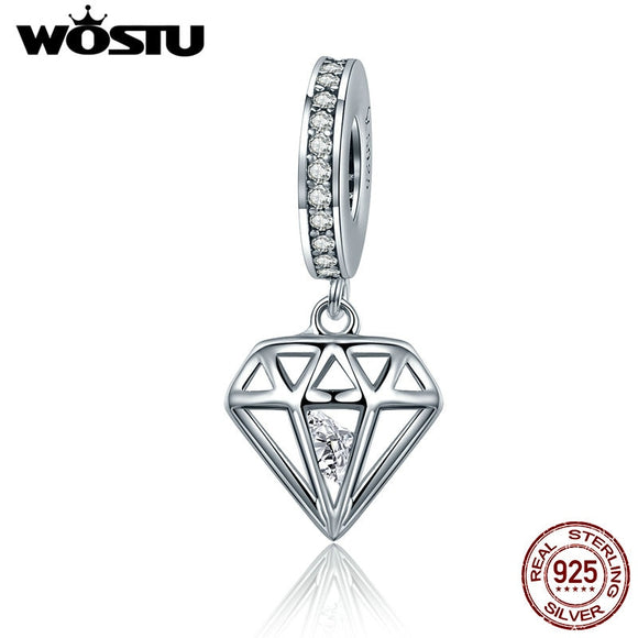 WOSTU Hot 925 Sterling Silver Shining Heart Dangle Beads Fit Original WST Charm Bracelet Pendant DIY Jewelry Gift CQC186