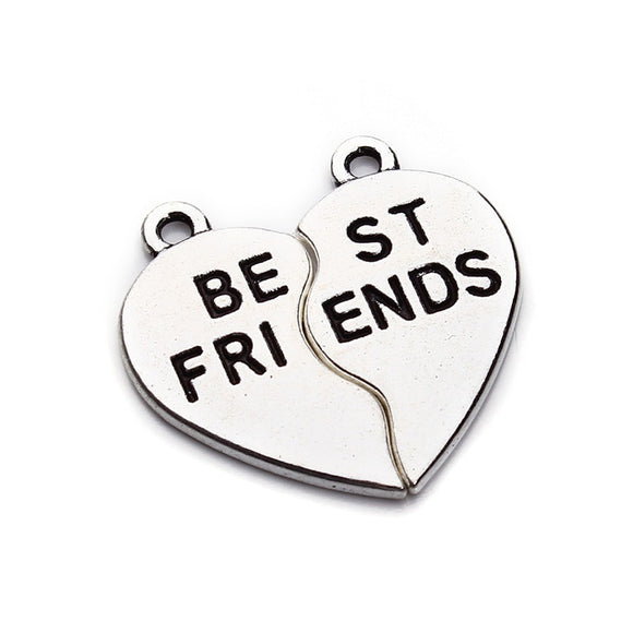 10set/lot 23x23mm Antique Silver Color DIY Best Friends Word Charms Pendants Berloques for Women Jewelry Findings F2968
