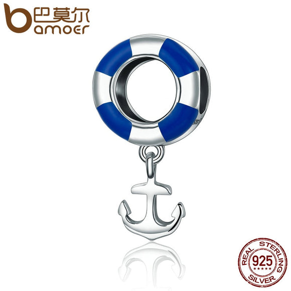BAMOER Real 925 Sterling Silver Ocean Journey Lifebuoy Navy Anchor Beads fit Charm Bracelets Necklace Jewelry SCC176