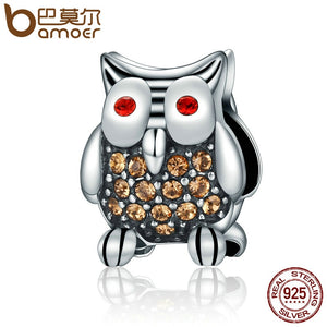 BAMOER Authentic 925 Sterling Silver Dazzling Yellow Clear CZ Animal Owl Beads Fit Bracelets Fine Jewelry Gift S925 SCC199
